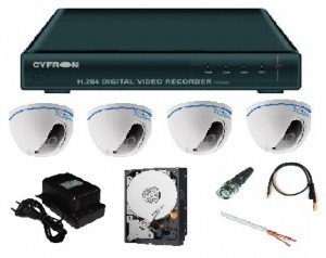 Комплект видеонаблюдения из 4-х видеокамер с возможностью просмотра через Интернет.